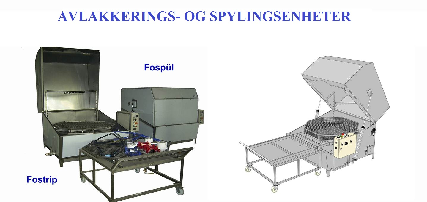 Anlegg for avlakkering og spyling