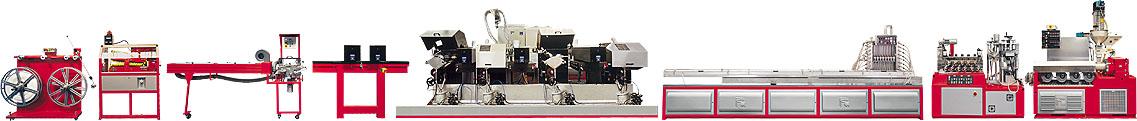 Linje for produksjon av bordkantprofiler