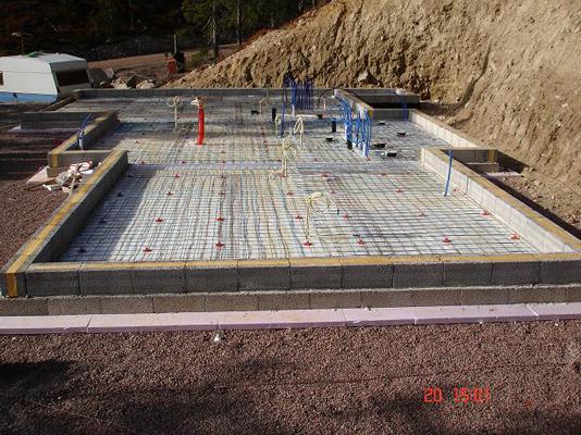 Fundament for Leca grunnmur med støpt plate