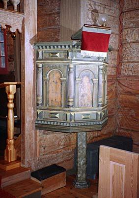 Preikestolen har måleri av evangelistane. Han er truleg frå før 1660 og vart restaurert på 1970-talet.
