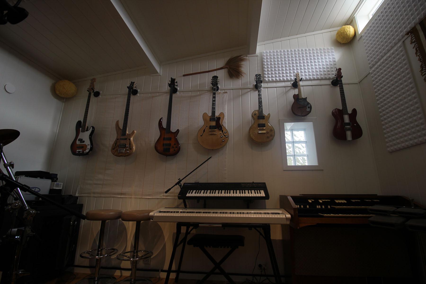 Studiorom med Sonor slagverk