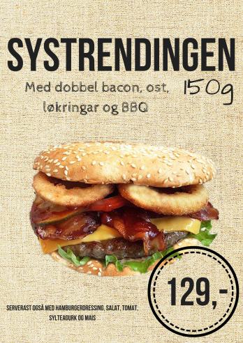 Systrendingen- 150g hamburger med dobbel bacon, ost, løkringar og bbq