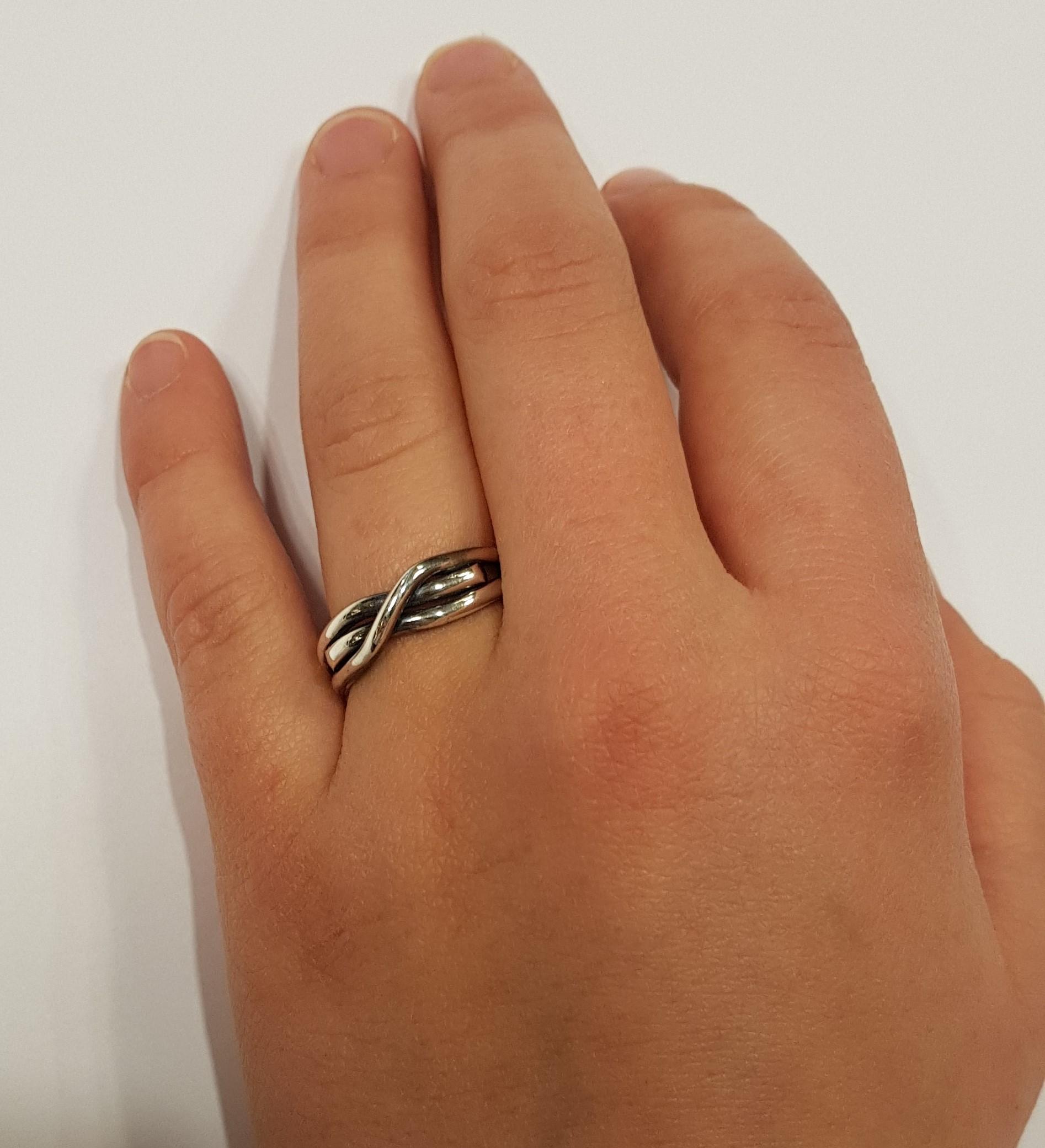 ring sølv halvstikk oksidert